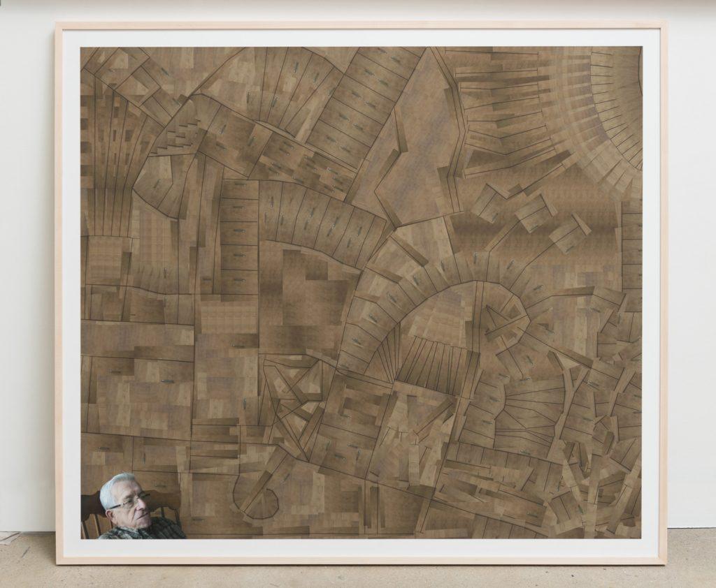 Image numérique d'un labyrinthe créé à partir de petits morceaux d'une armoire à l'arrière d'un homme Diane Dubeau La tête pleine de trous